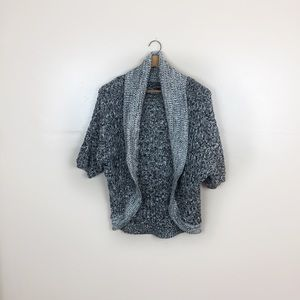 [Express] Black & White Knit Open Front Cardigan